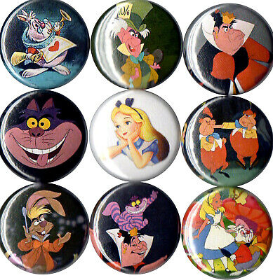 Alice in Wonderland 9 pins buttons cheshire cat mad hatter white rabbit disney  - Rabbit In Alice In Wonderland