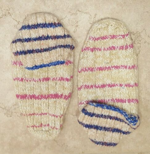 Unique Hand Knitted Beige Striped Blue and Pink House Slippers New, Unisex M/L