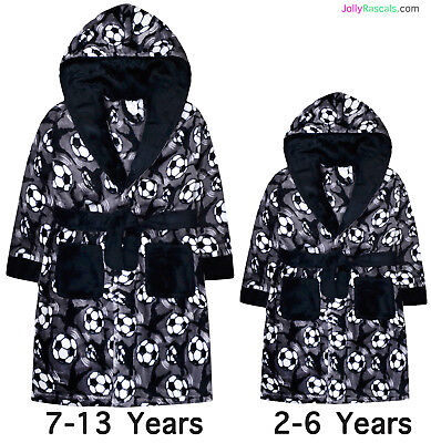 Boys Football Dressing Gown New Fleece Hooded Robe Grey Black Ages 2 - 13 Years