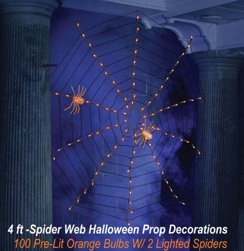 Halloween Prop Indoor Outdoor 4 ft Spider Web 100 Pre-Lit Cobweb & 2 Spiders