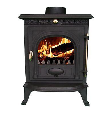 NEW Cast Iron Log Burner MultiFuel Wood Burning 6 kw Stove WoodBurner JA014