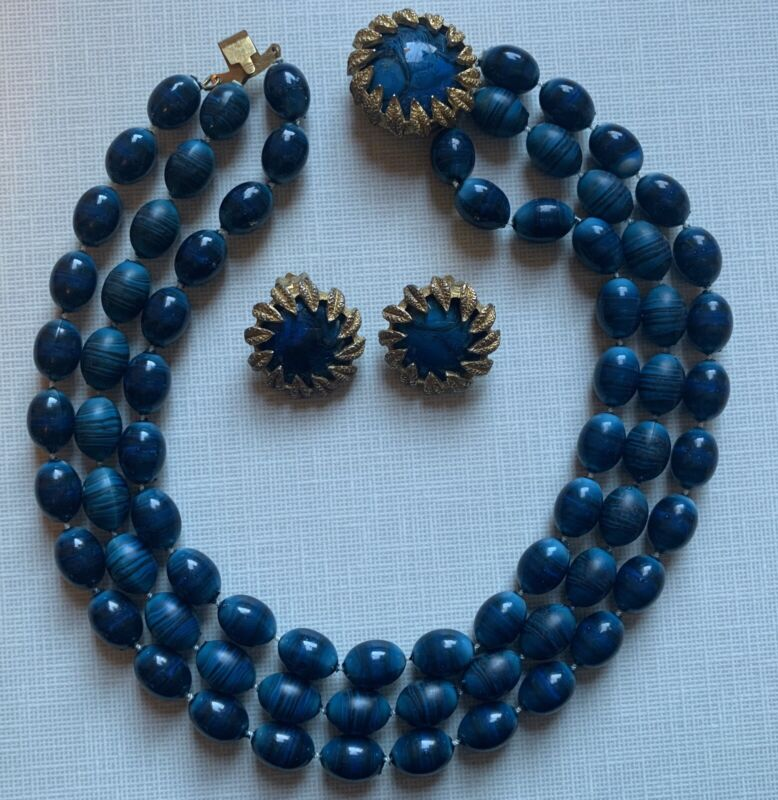 Vintage Dark Blue Striped Acrylic 3 Strand Necklace Earrings Gold Tone Leaves