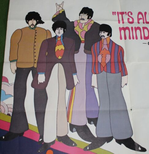 1968 THE BEATLES Yellow Submarine 6 Sheet Movie Poster Collectors MUST L@@K