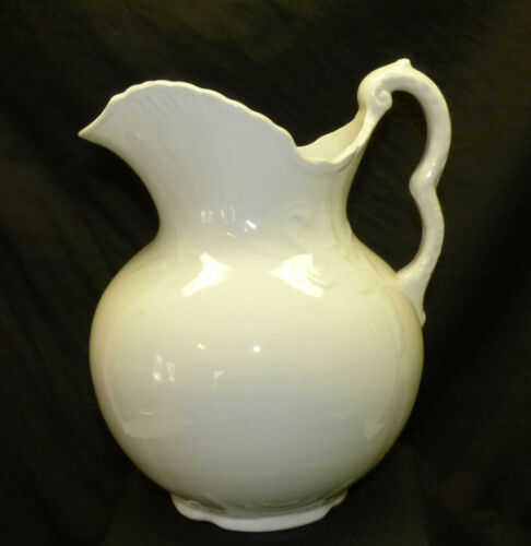Antique Burford Bros White Ironstone Porcelain Lg Water Wash Pitcher Embossed