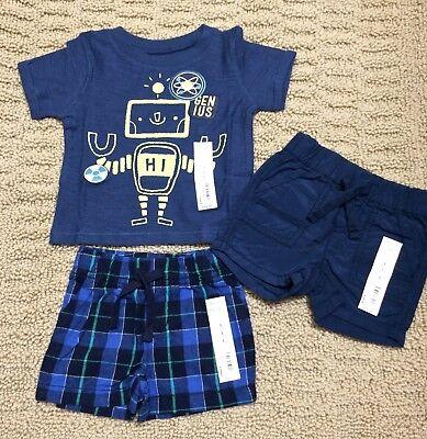 NWT infant baby boy robot shirt plaid blue shorts outfit set 3pc lot 3 M months