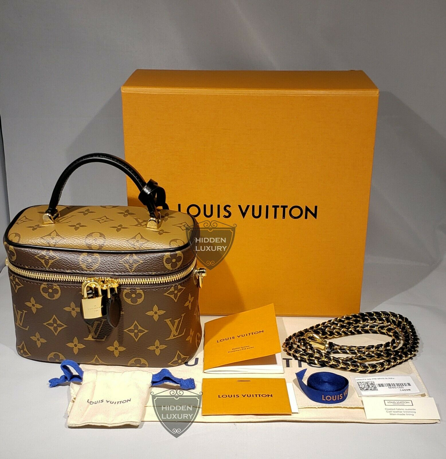 New Louis Vuitton Vanity PM w Strap Monogram Reverse Shoulder Bag Nice M45165