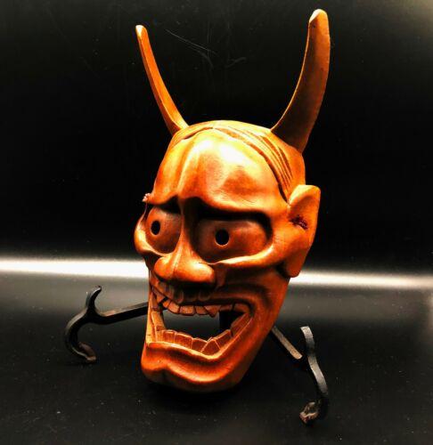 Japanese Vintage hannya wooden mask / Noh Demon Kagura Bugaku Devil Evil