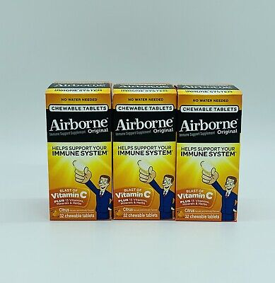 Airborne Chewable Vitamin C Immune Support Supplement Citrus 96 Ct Tab Ex 05/20 Tablets Vitamin Supplements