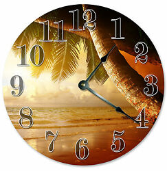 PALM TREES BEACH SUNSET SUNRISE CLOCK Large 10.5 inch Round Wall Clock 2082