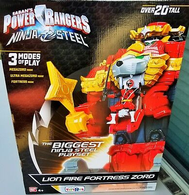 Power Rangers Ninja Steel Lion Fire Fortress Zord 20 inch Action Figure Playset