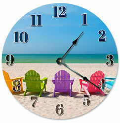 COLORED BEACH CHAIRS GIFT CLOCK Large 10.5 inch Round Wall Clock 2131