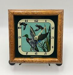 VTG 1982 Hensley Co USA Clock Wood Framed Ducks Silkscreened Collectible 7.5
