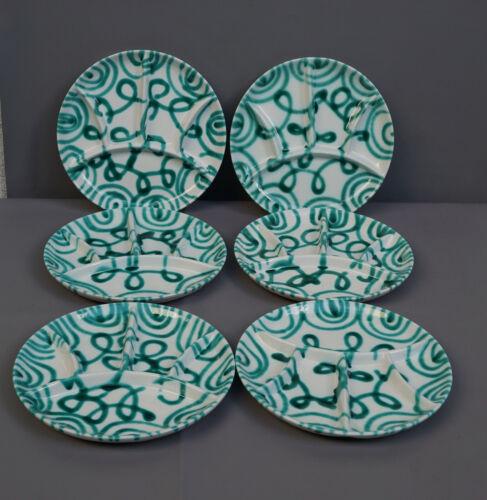 "Vintage Austrian Gmundner Keramik Dizzi Green Stripe Plate Marked 9"""