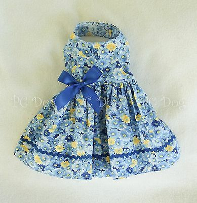 XXS New Blue Flowered Dog Dress clothes pet apparel clothing Teacup PC Dog®