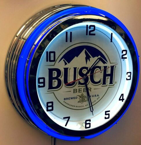"19"" Busch Beer Sign Double Neon Clock Blue Neon Mancave Bar Gameroom Garage"