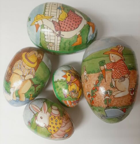 Set of 5 Vintage Paper Nesting Easter Eggs. From West Germany. Bunnies & Ducks!
