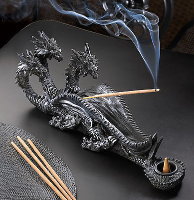 (INCENSE BURNER: Sinister Triple Headed Dragon Incense Stick and Cone Holder NEW)