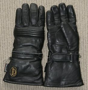BRISTOL LEATHER MOTORCYCLE RIDING GLOVES + RAIN COVERS