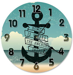 HOME IS WHERE THE ANCHOR DROPS CLOCK Large 10.5 inch Wall Clock BEACH HOME- 2192