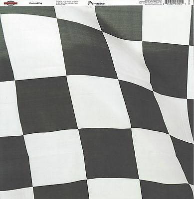 Reminisce - Checkered Flag Scrapbooking Paper - Double Sided - Racing Car  - Checkered Flag Paper