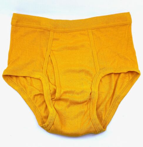 Vintage 60s 70s Mens Tight Brief Yellow Golden Fruit of the Loom Underwear USA