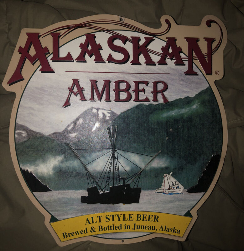 Vintage ALASKAN AMBER ALT STYLE Beer Brewed&Bottled In Juneau, Alaska Tin Sign