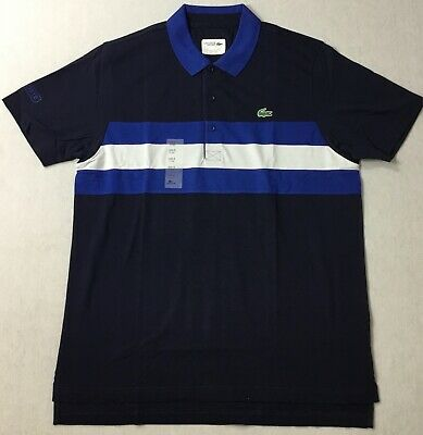 Lacoste Men Sport Striped Polo YH5516 Navy Blue Size 6/XL