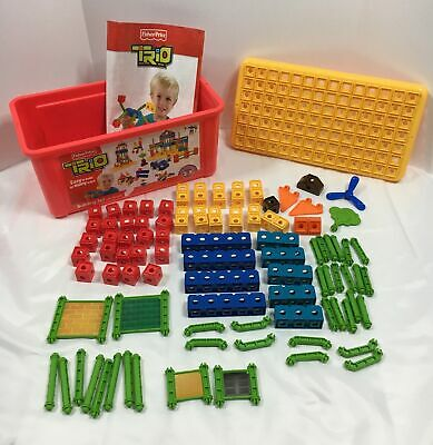 FISHER PRICE TRIO BUILDING BLOCKS - 89 Pieces Plus Bin & Booklet