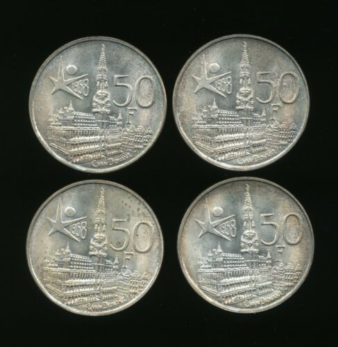 Lot of 4 - 1958 Belgian 50 Franc World Silver Coin                            c