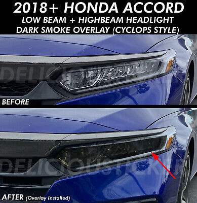 SMOKE Head light HIGH + LOW BEAM Overlays Tint Vinyl Fits 2018-20 Honda ACCORD