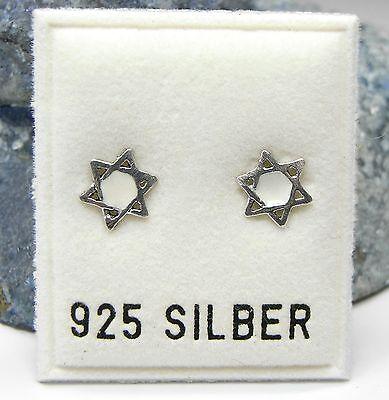 NEU 925 Silber OHRSTECKER Davidstern HEXAGRAMM weiß OHRRINGE Earrings STERNE