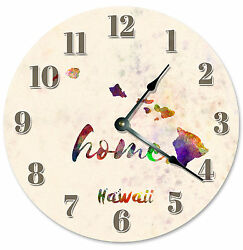 HAWAII STATE HOME CLOCK Large 10.5 inch Round Wall Clock WATERCOLOR - HI 2163