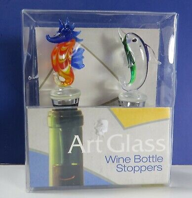 LS Arts Art Glass Wine Bottle Stoppers - Dolphin / (Seahorse Bottle Stoppers)