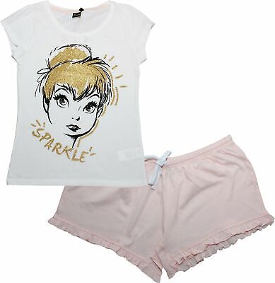 Disney Tinkerbell Fairies Ladies Sparkle Short Sleeve Pyjamas - Disney Fairies Pajamas