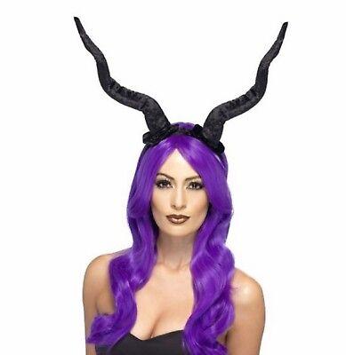 Erwachsene lang schwarz Demon / Teufel Hörner Kostüm Halloween Zubehör