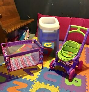 Doll high chair, playpen, and stroller
