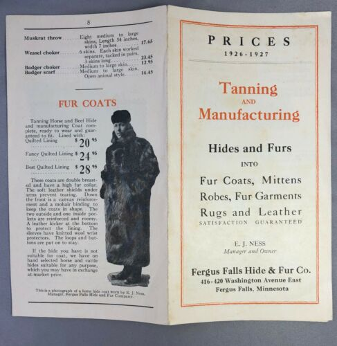 1926 Tanning FERGUS FALLS HIDES & FURS Minn. Catalog Brochure Robes Buckskin