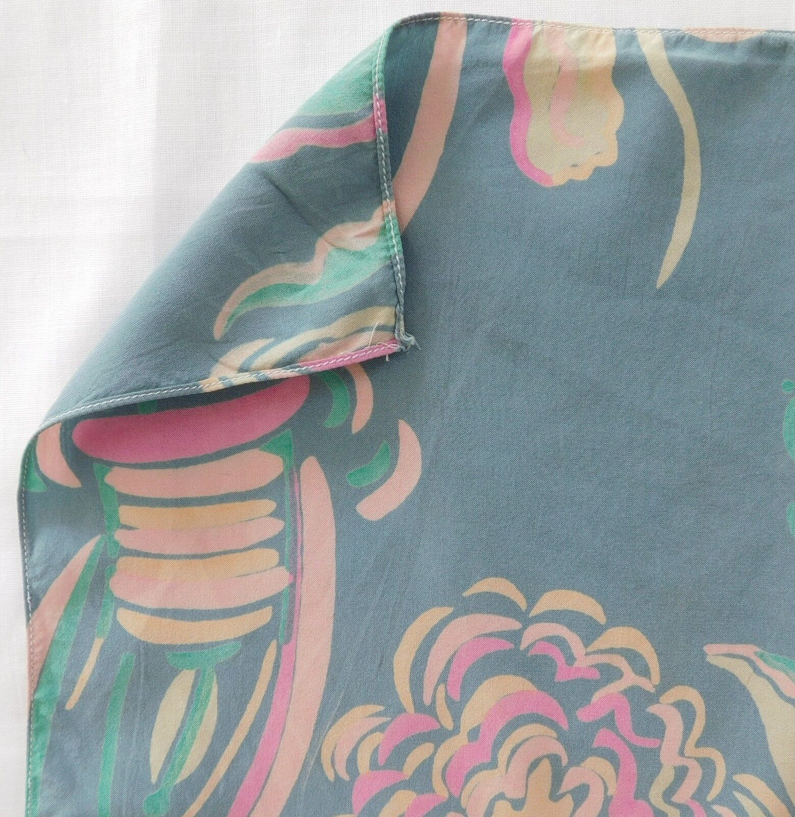 """Vintage floral pocket handkerchief Abstract flower power 12"""" square hanky af"""