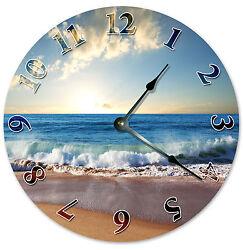CRASHING WAVE ON SHORE CLOCK Large 10.5 inch Round Wall Clock OCEAN 2041