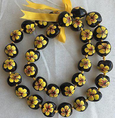 Kukui Nut Lei Hibiscus YELLOW Flower Necklace Hawaiian Wedding Luau Graduation
