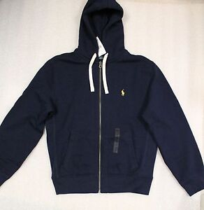 Polo Ralph Lauren Men Fleece Cotton Hoodie / Jacket / Sweatshirt Navy Blue New