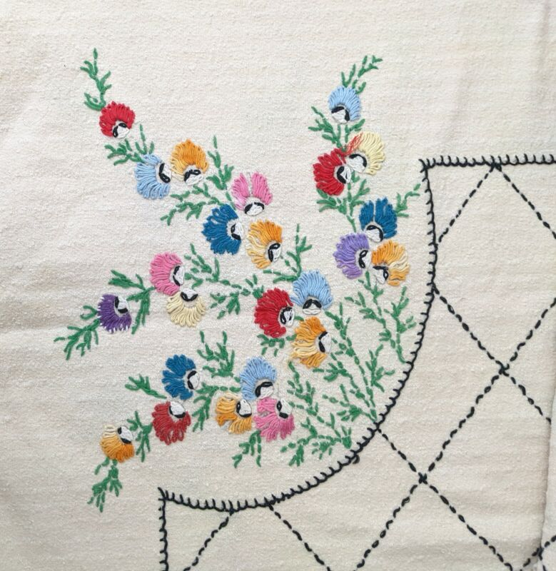 Vintage Handmade Embroidered Floral tablecloth