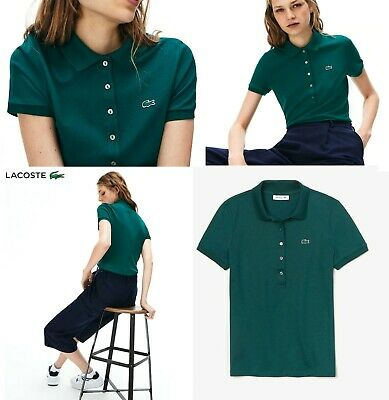 Lacoste Women's Slim Fit Stretch Mini Cotton Piqué Polo Shirt in Green Sz 36 / S