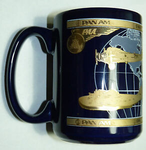 VTG PAN AM AIRLINES VINTAGE MUG NOS LARGE COFFEE CUP GOLD OLD STYLE LOGO