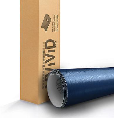 VVIVID Navy Blue brushed aluminum vinyl car wrap 1ft x 5ft 3mil sheet sticker