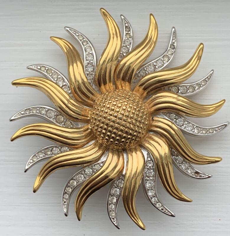 Kenneth Jay Lane KJL Sunflower Sunburst 2 Tone Rhinestone Pin Brooch Enhancer
