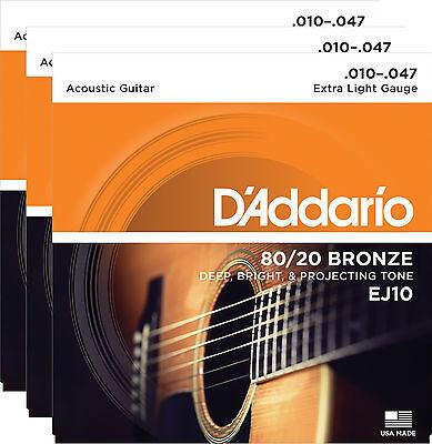 D'Addario EJ10 10-47 Bronze Acoustic Guitar Extra Light String 3-Pack Bundl