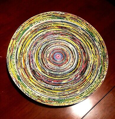 """HAND WOVEN ART Plate Centerpiece 10.5"""" RECYCLED PAPER Thin strips COLORFUL NICE!"""