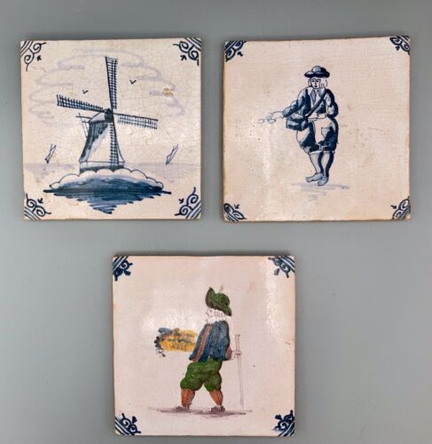 Nice Offering of Three (3) 18th C/19th C Delft Holland Hand Painted Tiles