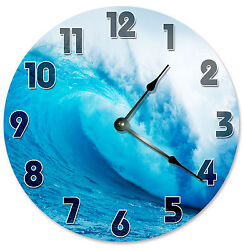 CRASHING WAVE CLOCK Large 10.5 inch Wall Clock SURFER SURFING BEACH OCEAN - 2119